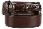 Oscar de la Renta Alligator-Trimmed Leather Belt