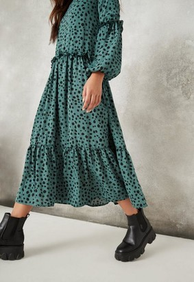 Missguided Tall Green Leopard High Neck Midi Smock Dress