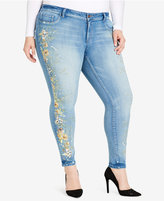 Jessica Simpson Trendy Plus Size Kiss Me Embroidered Skinny Jeans