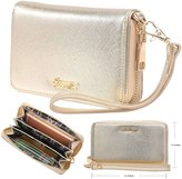 Aitbags Women's Single Zip Around Synthetic Leather Clutch Organizer Wallet