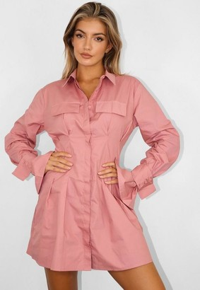 Missguided Blush Utility Pleated Waist Shirt Dress