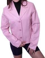 Dona Michi Leather Women's 3 Buttons Blazer Jacket Genuine Leather Italian Style
