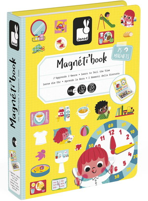 Janod Magneti Learn to Tell the Time 75-Piece Magnetic Game
