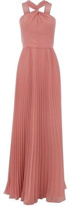 Oasis Twist Neck Pleated Maxi Dress