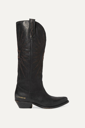 Golden Goose Wish Star Distressed Embroidered Leather Knee Boots - Black
