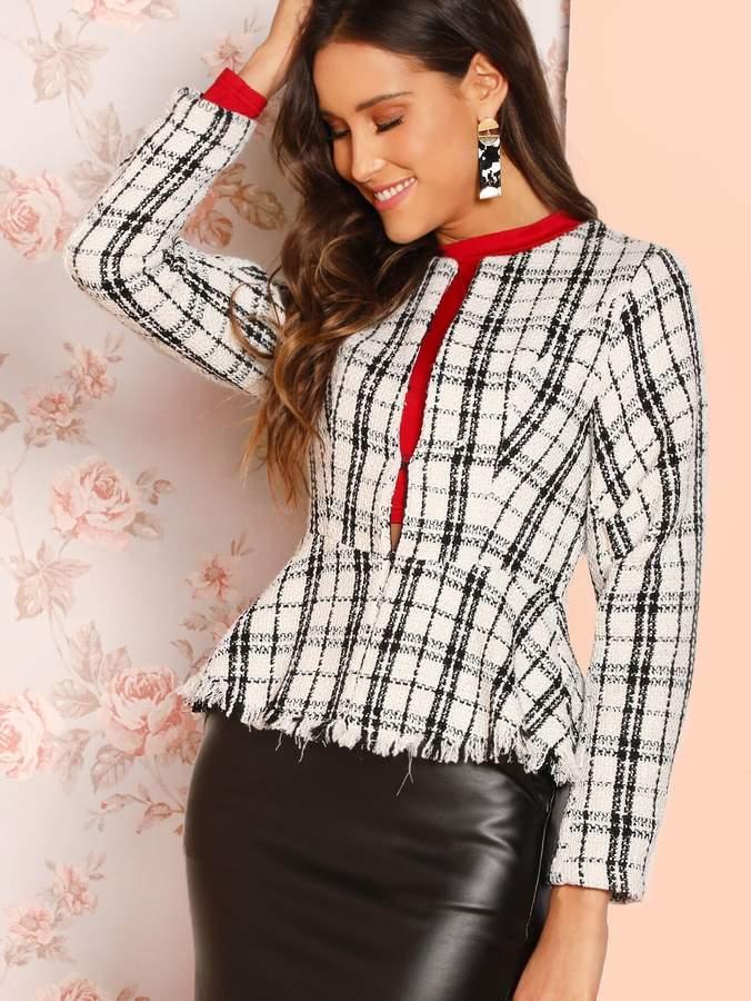 4a9787de2b Womens Black White Tweed Coat - ShopStyle