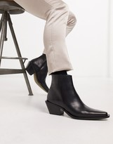 Asos Design DESIGN cuban heel western chelsea boot in black leather with angular sole