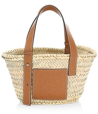 Loewe Mini Leather-Trimmed Woven Basket Bag