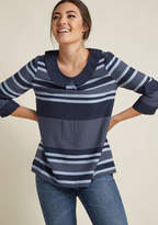 ModCloth 3/4 Sleeve Blouse with Peter Pan Collar in Navy in 1X