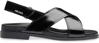 Prada flat brushed leather sandals