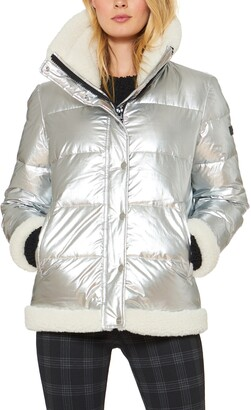 Sanctuary Water Resistant Puffer Jacket with Faux Shearling Trim