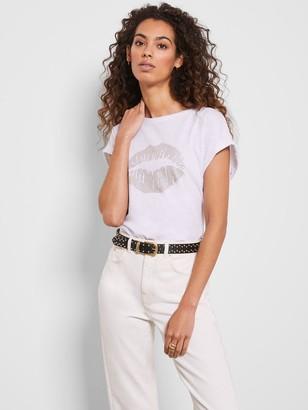 Mint Velvet Stud Lips T-Shirt - White