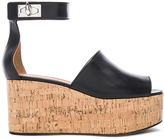 Givenchy Shark Cork Platform Leather Sandals