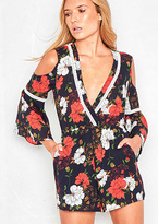 Missy Empire Camille Navy Floral V Plunge Playsuit