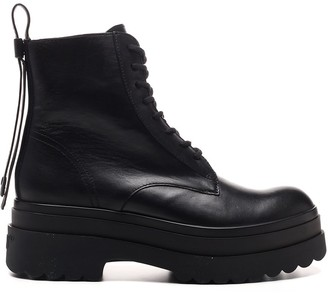 RED Valentino Lace Up Combat Boots