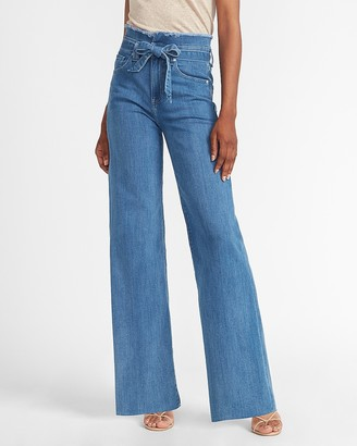 Express Super High Waisted Frayed Tie Waist Wide Leg Jeans