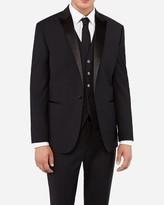 Express Slim Black Performance Stretch Wool Blend Tuxedo Jacket