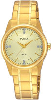 Pulsar Night Out Womens Crystal-Accent Solar Expansion Bracelet Watch PY5004