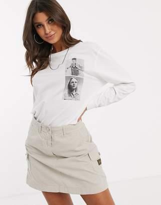 Calvin Klein Jeans Khakis capsule oversized photo print long sleeve t shirt-White