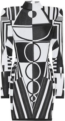 Balmain Geometric stretch-knit minidress