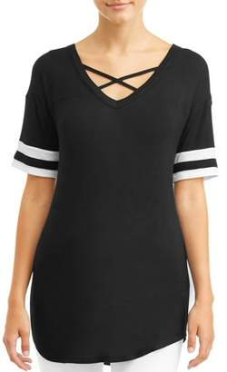 No Boundaries Juniors' Criss Cross Varsity Stripe Tee