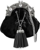 Miu Miu Crystal-embellished Velvet Shoulder Bag - Black