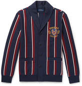 Polo Ralph Lauren - Shawl-Collar Embroidered Striped Cotton-Blend Jersey Cardigan
