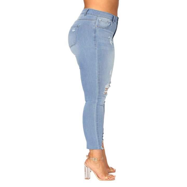 1c76f8b42666b Kikoy womens pants Women's Stretch Pull-On Skinny Ripped Distressed Denim  KIKOY Plus Size Jeans