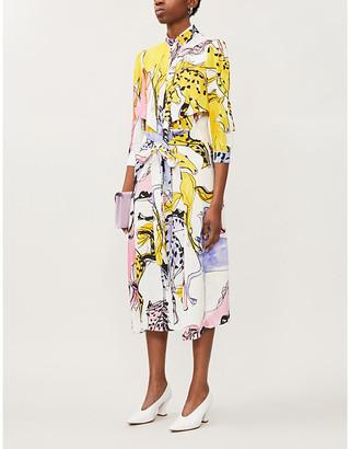 Stella McCartney High-neck horse-print stretch-crepe midi dress