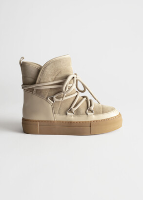 And other stories Shearling Lined Suede Snow Boots