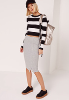 Missguided Popper Side Ribbed Midi Skirt Grey