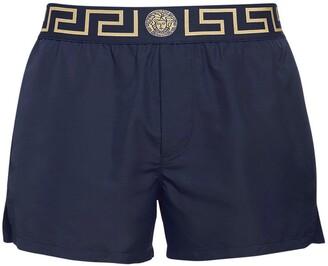 Versace Underwear Logo Waistband Nylon Swim Shorts