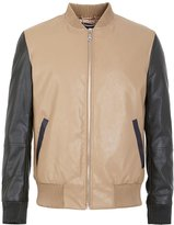 ME&CITY Men's Color Block Zip Front PU Leather Bomber Jacket, S