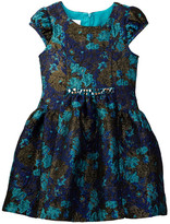 Iris & Ivy Metallic Floral Jacquard Panele Dress (Toddler & Little Girls)