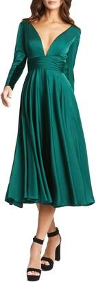 Mac Duggal Long Sleeve Plunge Neck Cocktail Midi Dress