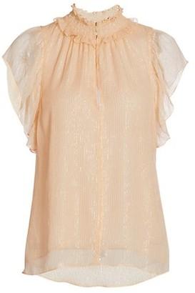 A.L.C. Hayley Silk-Blend Flutter-Sleeve Top