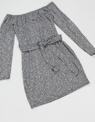 I SAW IT FIRST bardot mini dress in grey