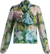 Dolce & Gabbana Hydrangea-print tie-neck silk-chiffon blouse