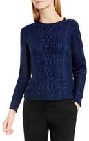Vince Camuto Women's Button Shoulder Cable Knit Cotton Blend Sweater