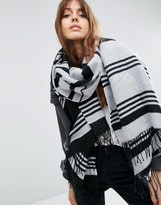 Asos Oversized Long Woven Scarf In Mono Stripe