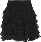 Balmain Tiered silk-chiffon mini skirt