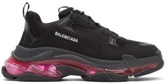Balenciaga Black and Pink Triple S Sneakers
