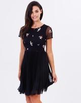 Oasis Leila Embroidered Mesh Skater Dress