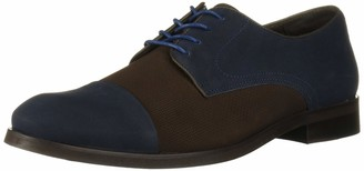 Marc Joseph New York Men's Genuine Leather Luxury Gold Collection Captoe Laceup Dress Shoe Loafer Navy Nubuck/Brown 7 M US