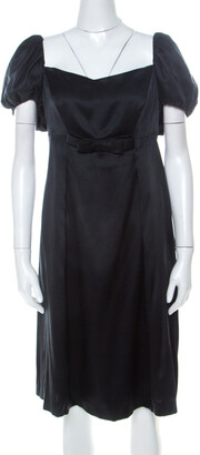 Issa Black Silk Puff Sleeve Front Bow Detail Short Dress L