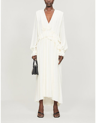 Victoria Beckham Ruffle-trimmed V-neck silk maxi dress