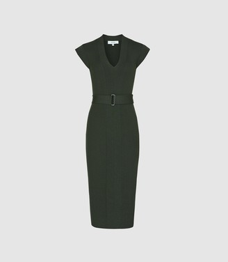 Reiss Amelie - Knitted Bodycon Dress in Green