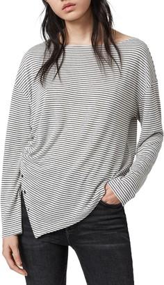 AllSaints Hatti Stripe Asymmetrical T-Shirt