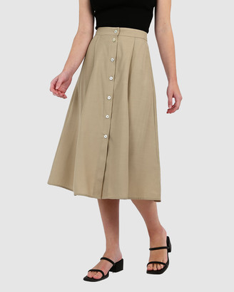 Forcast Women's Midi Skirts - Megan Button-Up Skirt - Size One Size, 8 at The Iconic