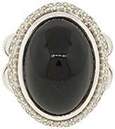 David Yurman 925 Sterling Silver with Cabochon Onyx and Diamond Ring Size 5.5